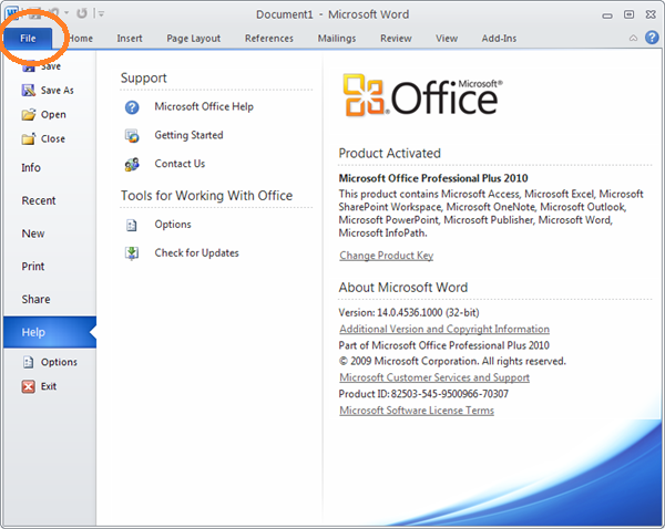 in office 2007 the file menu was replaced with the microsoft office button in office 2010 the microsoft office button is referred to as the file tab